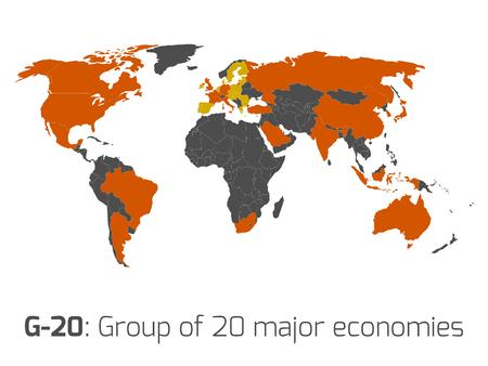 g20: G-20 or Group of major economies in the world. Highlighted by orange in blank world political map. Illustration