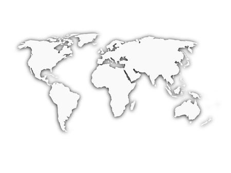 White world map with shadow silhouette. Looks like map cut from paper. Vector illustration.