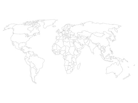World map with smoothed country borders. Thin black outline on white background.