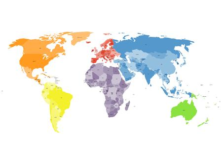 Colored political world map with names of sovereign countries and larger dependent territories. Different colors for each continent. South Sudan included.