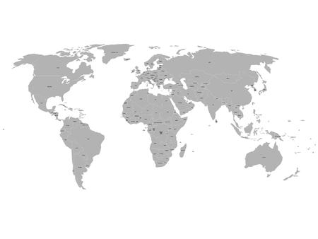 Grey political world map with names of sovereign countries and larger dependent territories. South Sudan included. Illustration