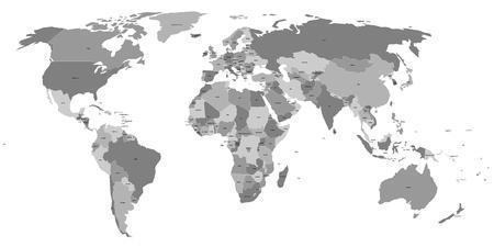 mapa politico: Vector mapa del mundo con las etiquetas de los países soberanos y territorios dependientes de mayor tamaño. Cada estado es un grupo de objetos de color gris y sin fronteras. Sudán del Sur incluido.