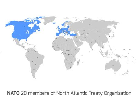 north atlantic treaty organization: 28 NATO member countries highlighted by blue in blank world political map. Illustration