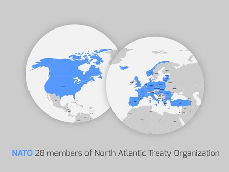 north atlantic treaty organization: NATO member countries marked in two circle maps simbolized two globes