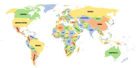 Colored Political World Map With Black Labels Of Sovereign Countries ...