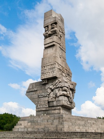defenders: GDANSK, POLAND - CIRCA 2014: Monument on the Westerplatte in memory of the Polish defenders of Gdansk in Poland, circa 2014.