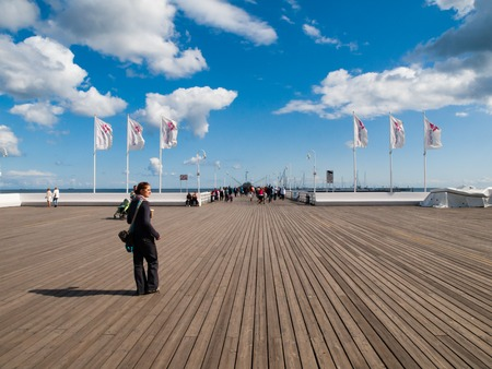 longest: SOPOT, POLAND - CIRCA 2014: The Sopot Pier is the longest wooden pier in Europe, 511 m. Taken on sunny end of summer day circa 2014 in Sopot, Poland. Editorial