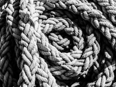 detailed view: Detailed view of rope ball. Black and white image.