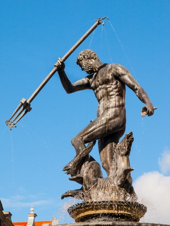 neptun: Bronze statue of Neptune, the Roman God of the sea, in Old Town of Gdansk, Poland