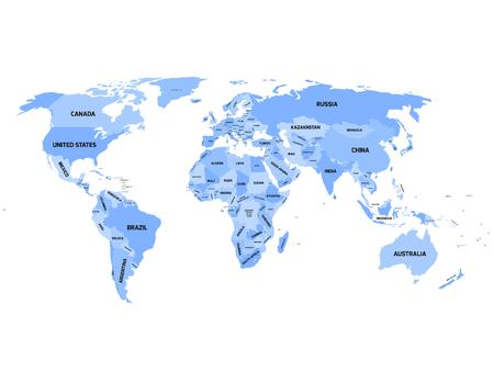 World map with names of sovereign countries and larger dependent territories. Simplified vector map in four shades of blue on white background.
