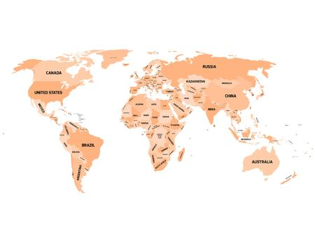dependent: World map with names of sovereign countries and larger dependent territories. Simplified vector map in four shades of orange on white background. Illustration