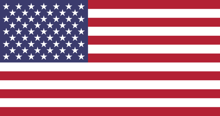 Unied States of America official flag. Thirteen horizontal stripes alternating red and white in the canton, 50 white stars of alternating numbers of six and five per row on a blue field