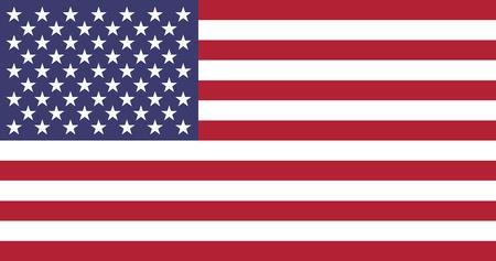 Unied Staten van Amerika officiële vlag. Dertien horizontale strepen afwisselend rood en wit in het kanton, 50 witte sterren van afwisselende nummers zes en vijf per rij op een blauw veld