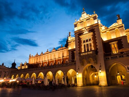 rynek: Cloth Hall, or Sukiennice, on Main Market Square in the Old Town by night, Krakow, Poland Stock Photo