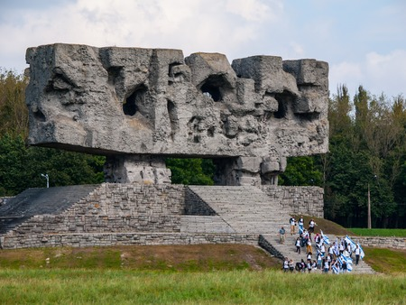 inmates: LUBLIN, POLAND - CIRCA 2014:  Monument in Majdanek concentration camp established in Lublin during the German occupation of Poland World War II.