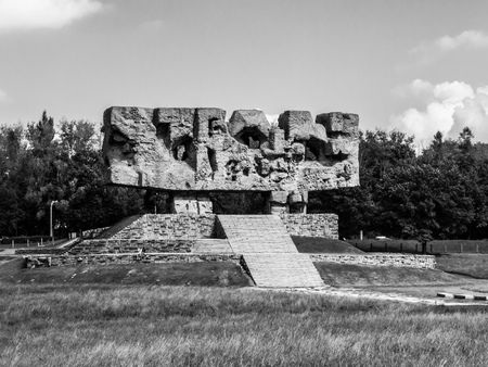 death camp: LUBLIN, POLAND - CIRCA 2014:  Monument in Majdanek concentration camp established in Lublin during the German occupation of Poland World War II.. Black and white image.