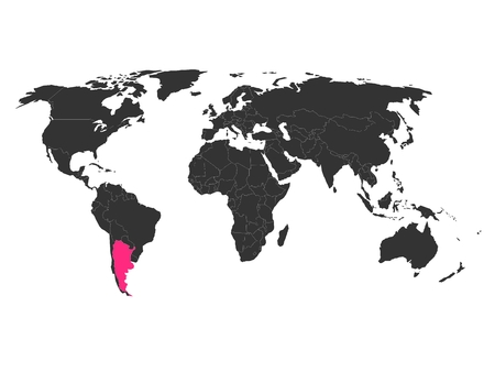 highlight: World map with highlighted Argentina. Simlified political vector map in dark grey and pink highlight.