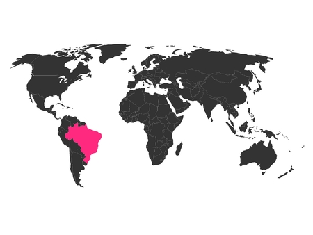 brasil: World map with highlighted Brasil. Simlified political vector map in dark grey and pink highlight. Illustration