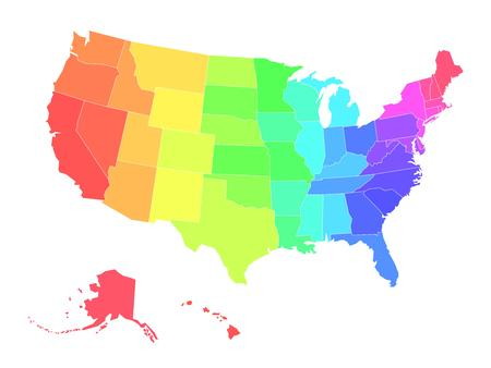 Multicolored blank map of USA in colors of rainbow. Simplified vector map on white background.