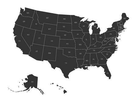 simplified: Map of United States of America with state codes. Simplified dark grey silhouette vector map on white background.
