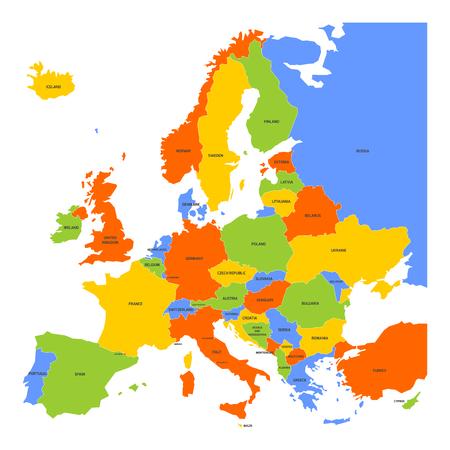 mapa de europa: Mapa de Europa con nombres de países soberanos, miniestados y Kosovo incluido. mapa vectorial simplificado en cuatro colores tema sobre el fondo blanco.