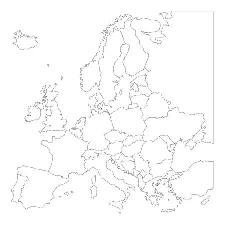 Blank outline map of Europe. Simplified vector map made of black outline on white background. Illustration