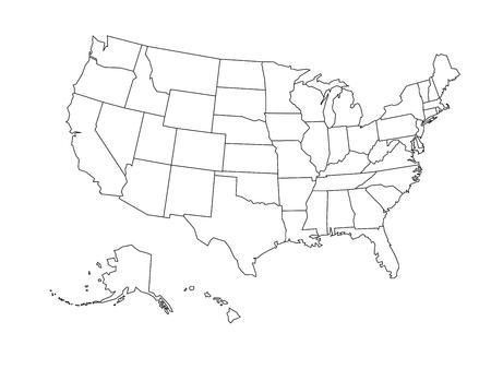 Puste zarys mapy Stanów Zjednoczonych Ameryki. Uproszczona Mapa wektorowa wykonana z czarną obwódką na białym tle. Ilustracje wektorowe
