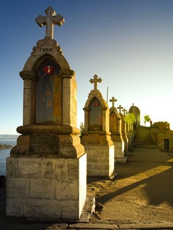 calvary: Crosses on the top of Calvary Hill, or Cerro Calvario, above Copacabana at Titicaca Lake, Bolivia