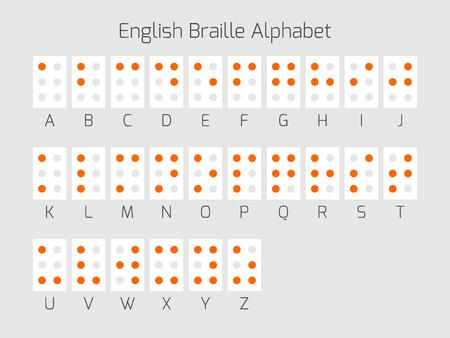 impaired: Braille alphabet letters. Braille is a tactile writing system used by people who are blind or visually impaired. Vector illustration.