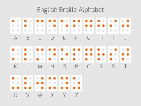 braille: letras del alfabeto Braille. El braille es un sistema de escritura táctil utilizado por las personas que son ciegas o deficientes visuales. Ilustración del vector.