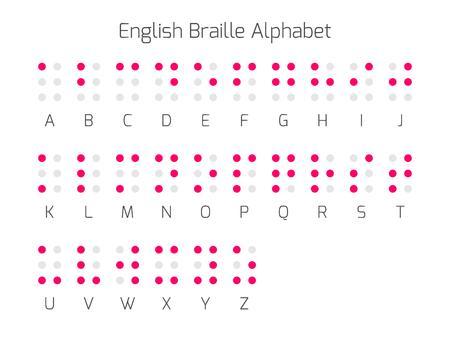braile: letras del alfabeto Braille. El braille es un sistema de escritura táctil utilizado por las personas que son ciegas o deficientes visuales. Ilustración del vector.