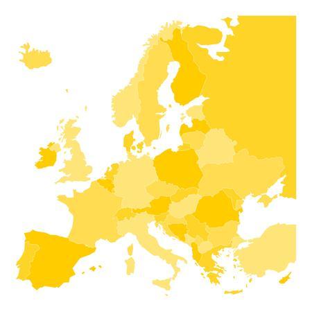 Carte vierge de l'Europe. Vector illustration dans les tons jaunes sur fond blanc.