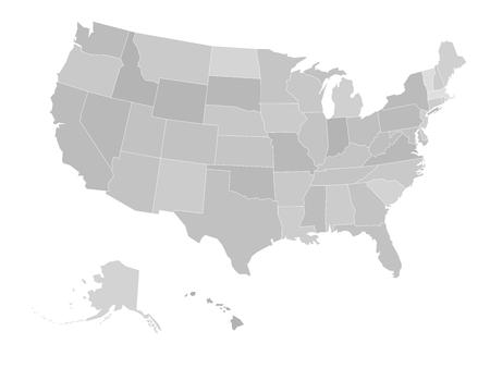 Blank map of United states of America. Vector illustration in grey shades on white background.