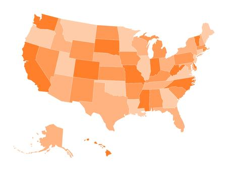 Blank map of United states of America. Vector illustration in orange shades on white background. Ilustração