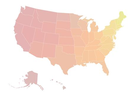 color scale: Blank map of United states of America. Vector illustration in yellow-red color scale shades on white background.