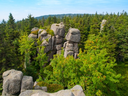 rock formation: Snezne vezicky granite rock formation hidden in the forest, Jizera Mountains, Czech Republic