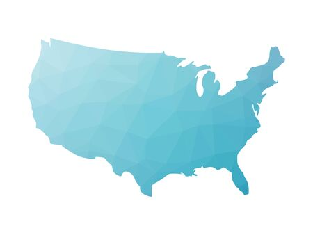 Low poly map of USA. Vector illustration made of blue triangles. Ilustrace