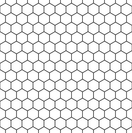 Seamless hexagonal background in white with dark grey borders. Vector illustration.
