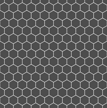 Seamless hexagonal background in dark grey with white borders. Vector illustration.