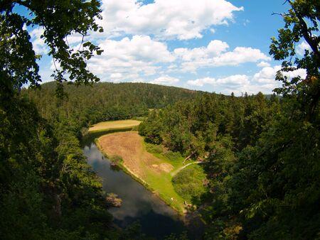 natural bridge: View of River Rak vfom Great natural bridge in Rakov Skocjan karst valley, Slovenia