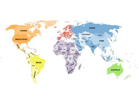 carte du monde politique coloré avec les noms des pays souverains et les grands territoires dépendants. Différentes couleurs pour chaque continent. Sud-Soudan inclus.