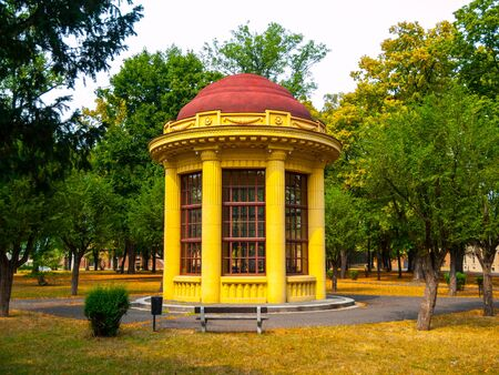 terezin: Park gazebo with red roof and yellow facade, Terezin, Czech Republic