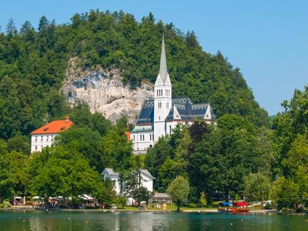 saint martin: White Parish Church of Saint Martin at Lake Bled, Slovenia