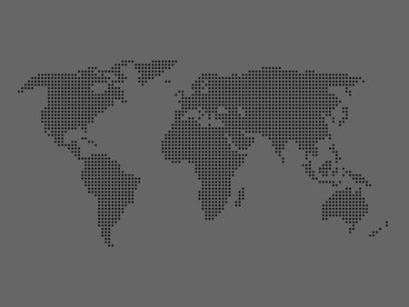 Dotted world map black map on white background vector illustration 53889041 dotted world map dark grey map on grey background vector illustration made of small circles gumiabroncs Choice Image