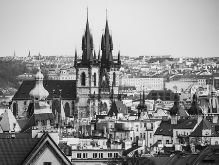 tyn: Prague Old Town with Church of Our Lady before Tyn. Aerial view from Letna Park, Czech Republic. Black and white image.