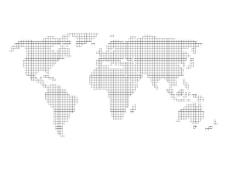 cuadrícula del mapa mundial - azulejos por pequeños cuadrados con el esquema negro y relleno blanco sobre fondo blanco.