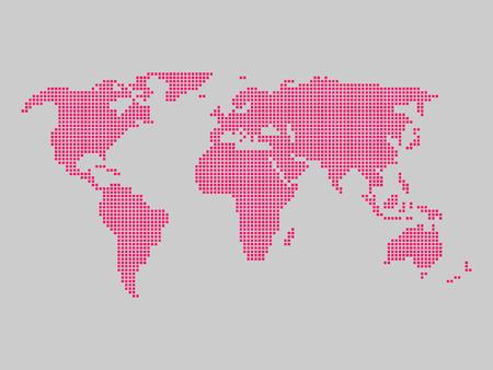 World map tiled by small pink squares on grey background.