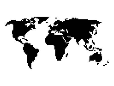 vga: Pixel style map of world. Black map on white background