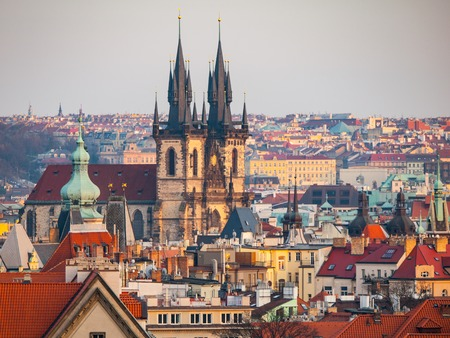 tynsky church: Prague Old Town with Church of Our Lady before Tyn. Aerial view from Letna Park, Czech Republic