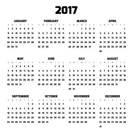 meses del año: Calendario para el año 2017. Cuatro meses en tres filas. Semanas comienzan el lunes. números negros sobre fondo blanco. Vectores